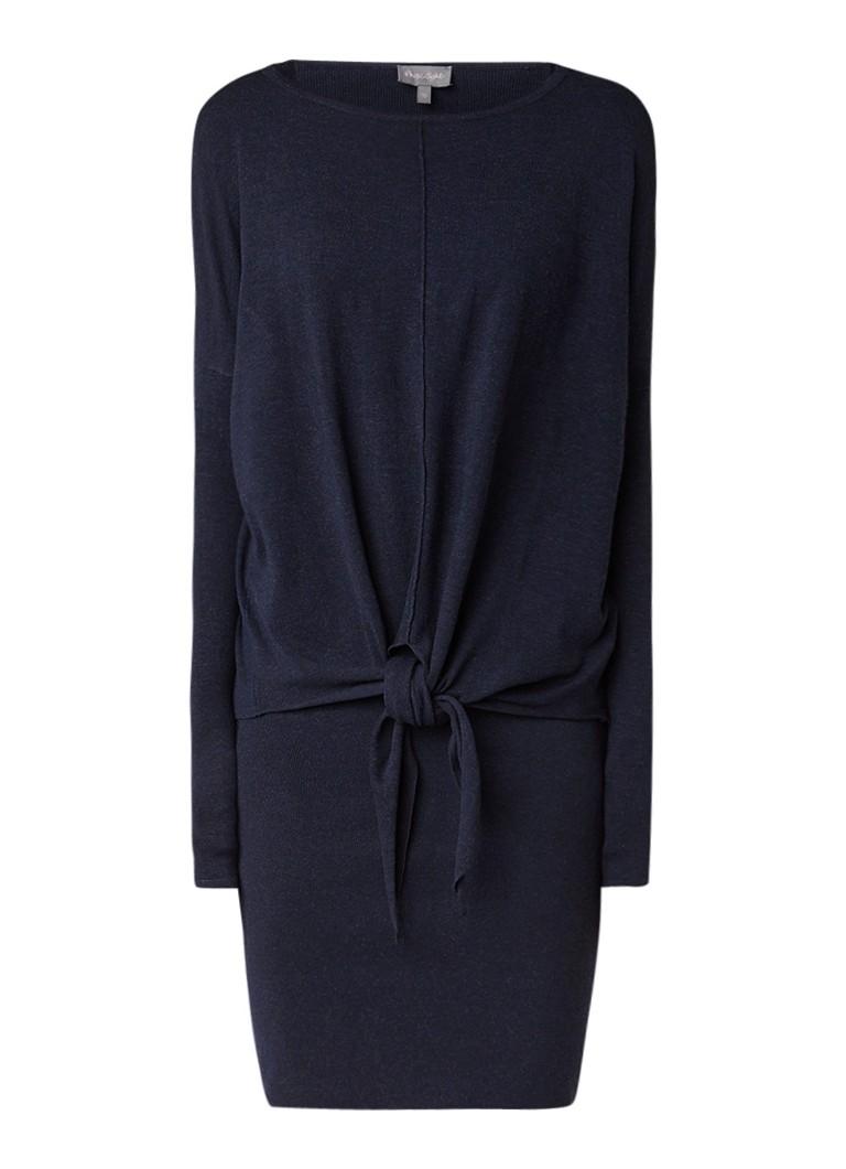 Phase Eight Jolanda fijngebreide midi-jurk met overlay donkerblauw
