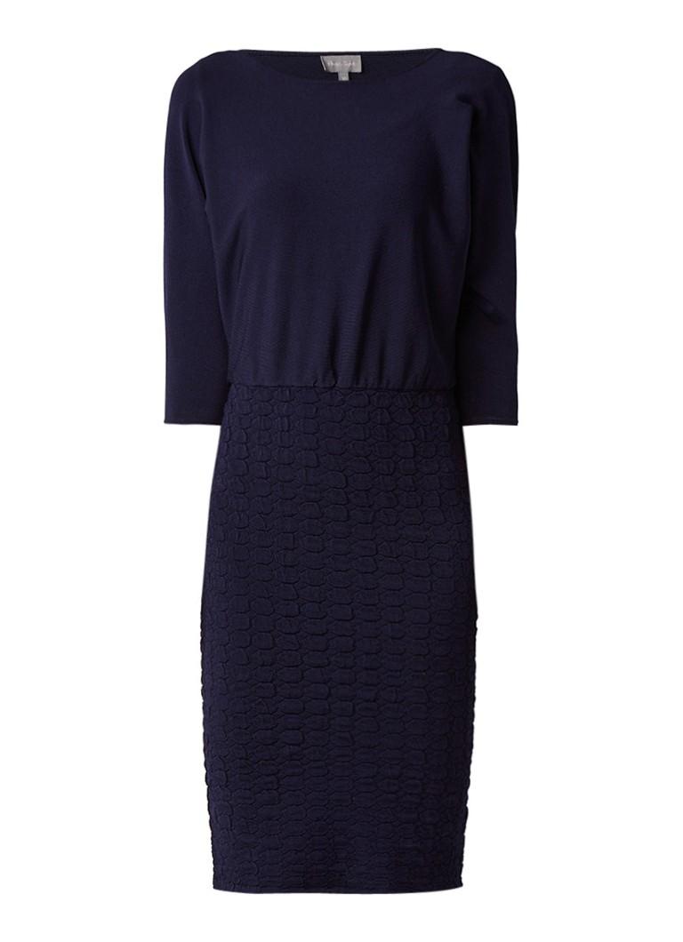 Phase Eight Adele fijngebreide midi-jurk met structuur donkerblauw