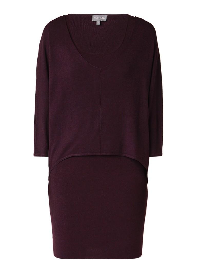 Phase Eight Carmen midi-jurk met overlay en deelnaad aubergine