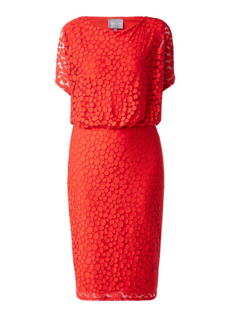 Phase Eight Sandra midi-jurk met overlay en gestipt dessin rood