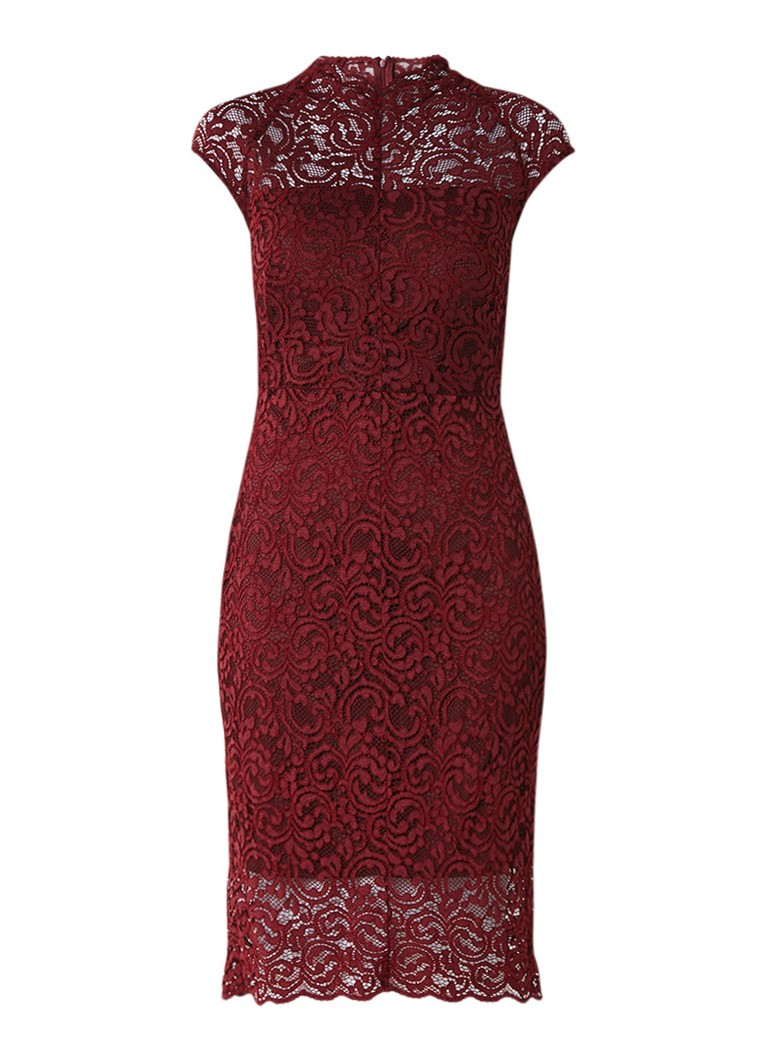 Phase Eight Becky midi-jurk van kant bordeauxrood