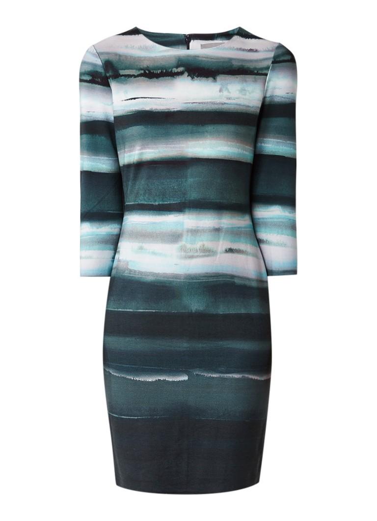 Phase Eight Annika midi-jurk met abstract streepdessin zeegroen