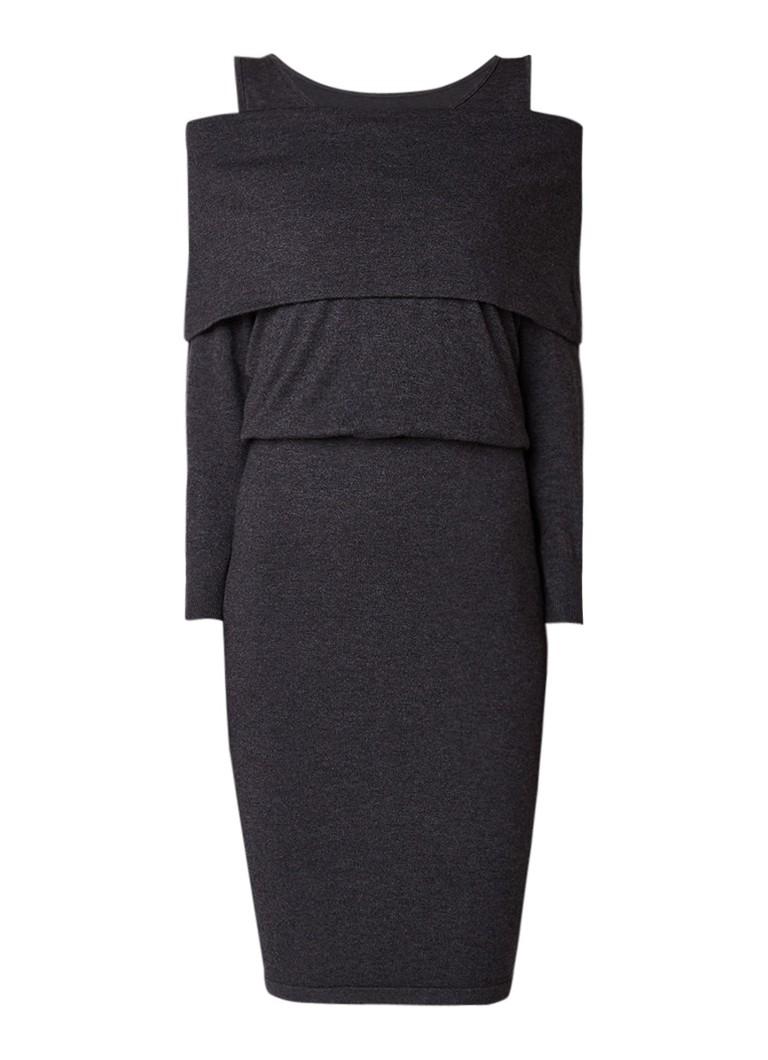 Phase Eight Berthe fijngebreide off shoulder jurk in wolblend antraciet