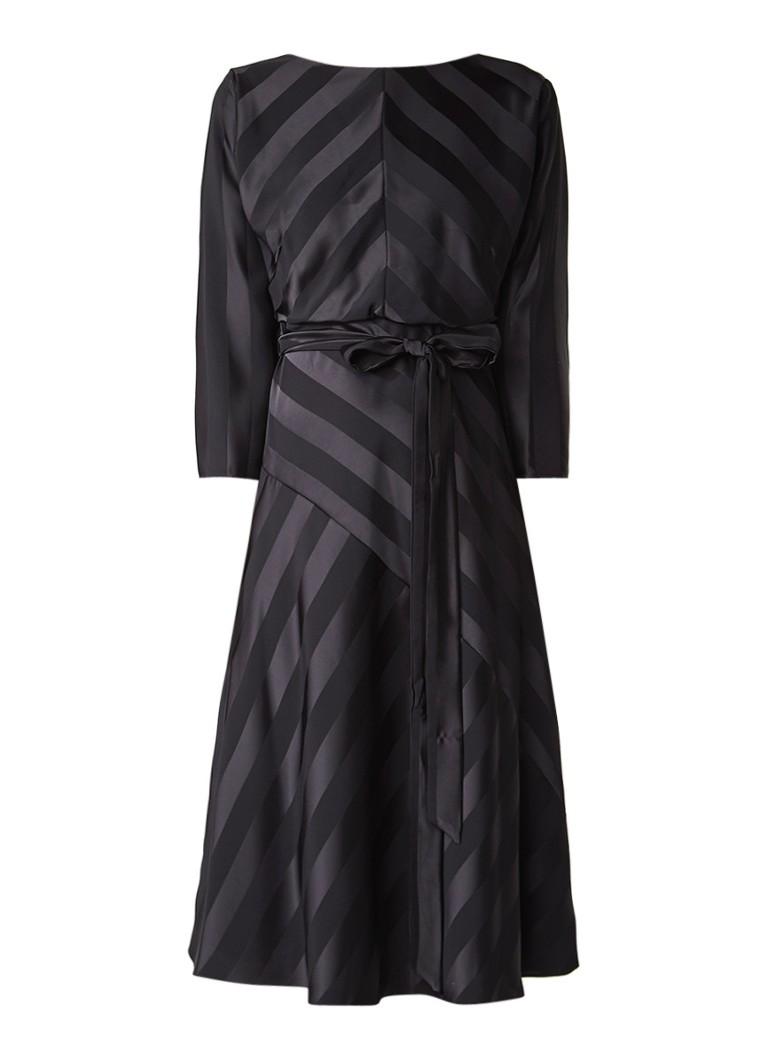 Phase Eight Avaline A-lijn jurk met gestreept dessin en strikceintuur zwart