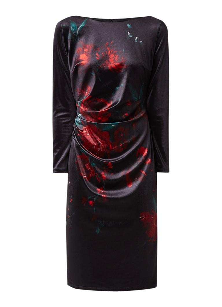 Phase Eight Fenella jurk met draperie en bloemendessin zwart