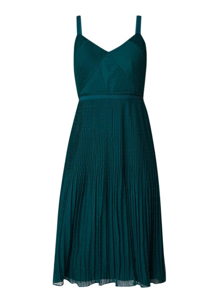 Phase Eight Pascale A-lijn jurk met plissé en geplooid detail flessengroen