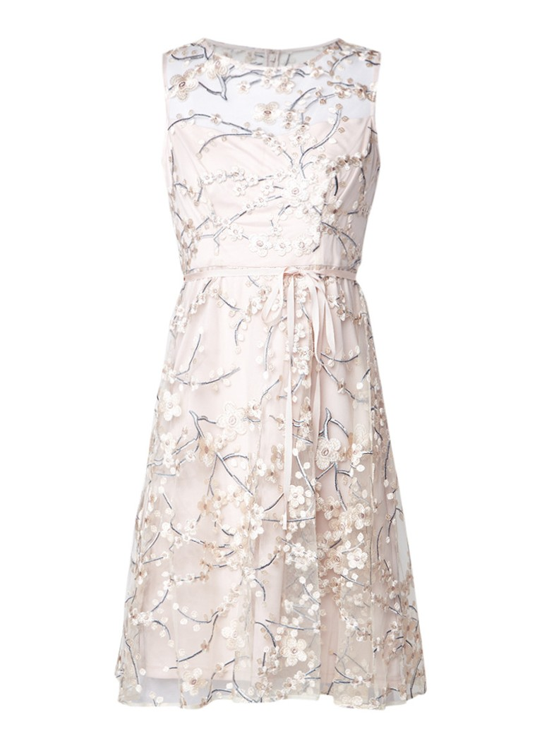 Phase Eight Sable semi-transparante A-lijn jurk met bloemenborduring lichtroze
