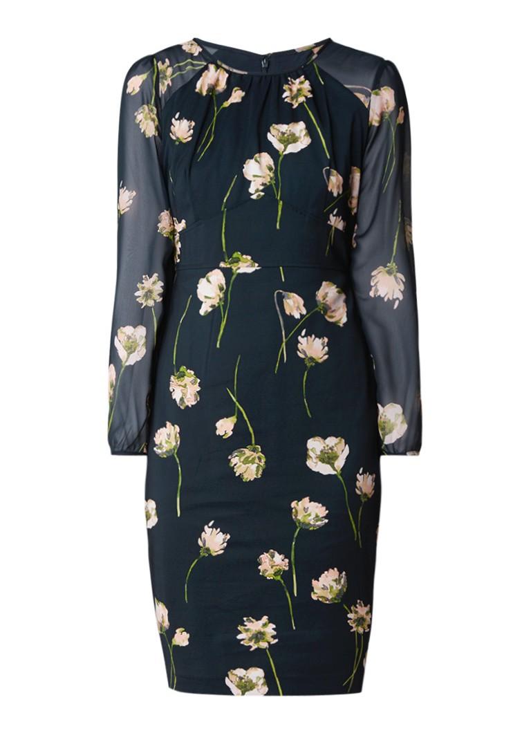 Phase Eight Sorina midi-jurk met bloemendessin zeegroen