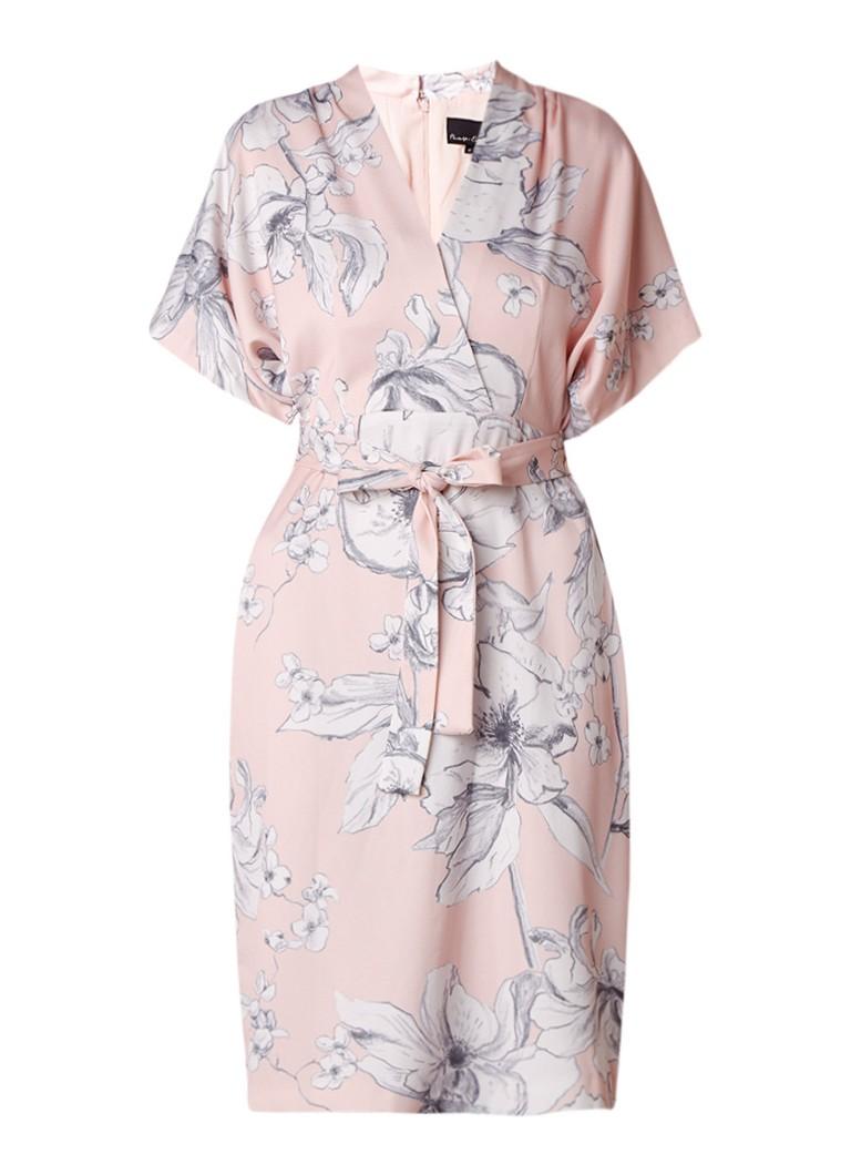 Phase Eight Paige midi-jurk van satijn met bloemendessin lichtroze