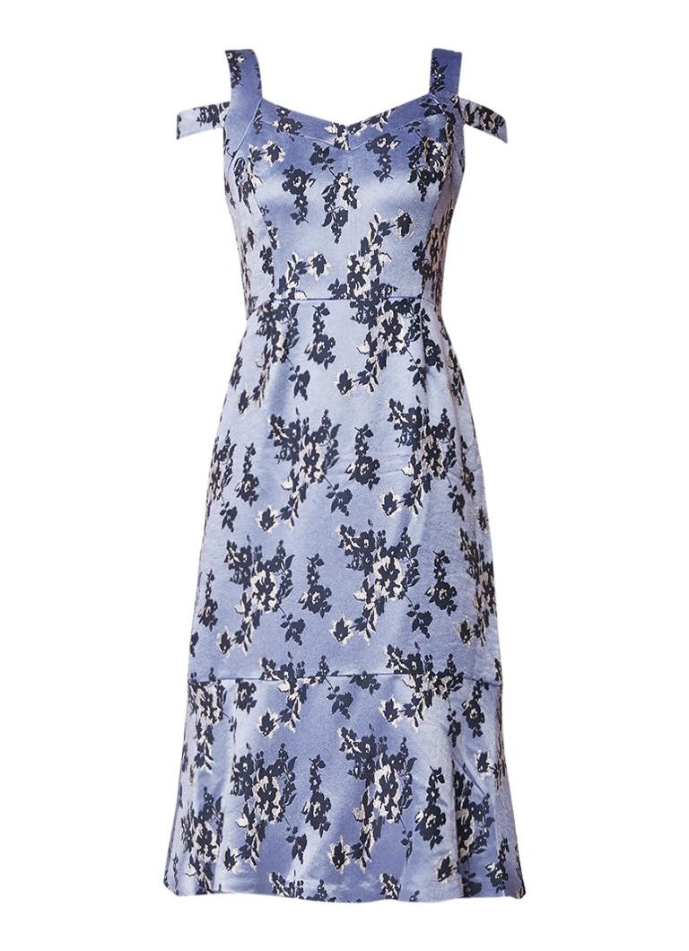 Phase Eight Persephone midi-jurk bloemendessin en volant lavendel