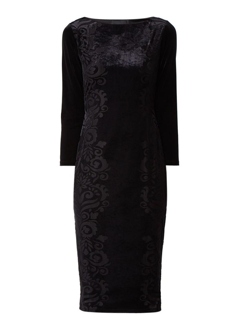 Phase Eight Petra midi-jurk van fluweel met flockprint zwart