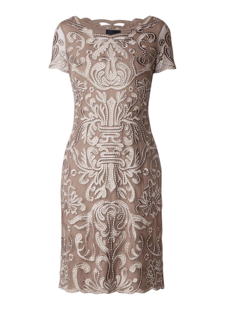Phase Eight Talia midi-jurk met borduring lichtbruin