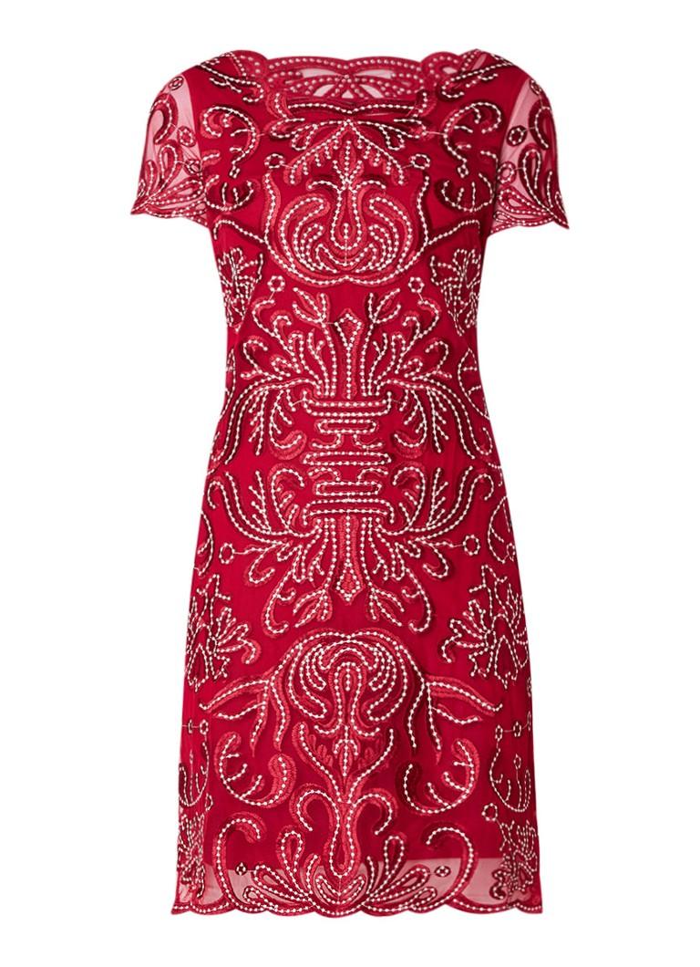 Phase Eight Talia midi-jurk van mesh met borduring cranberryrood
