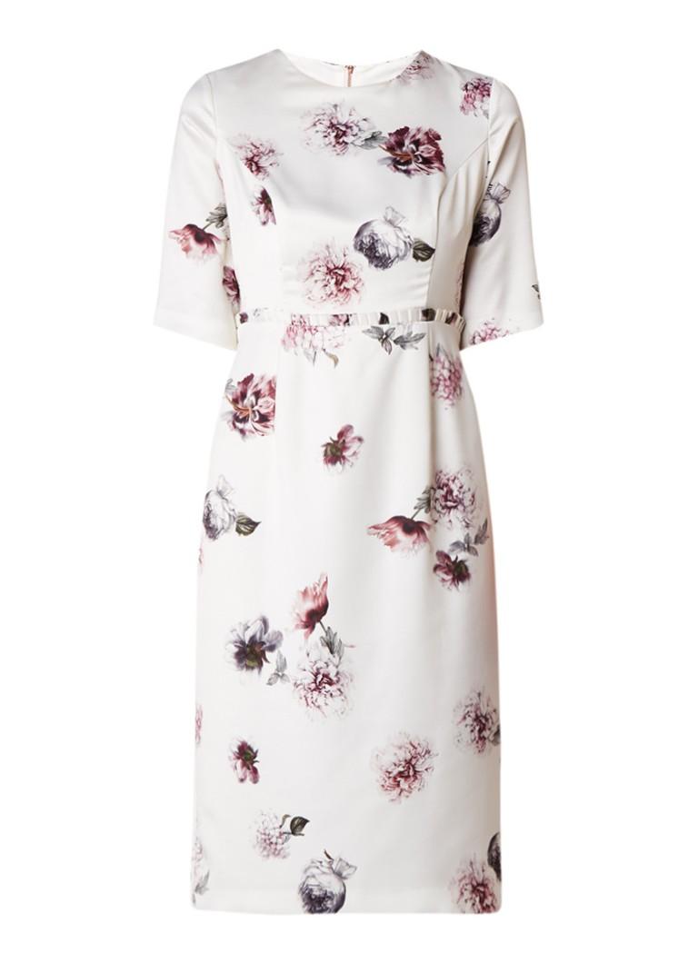 Phase Eight Olga Rose midi-jurk van satijn met bloemendessin gebroken wit