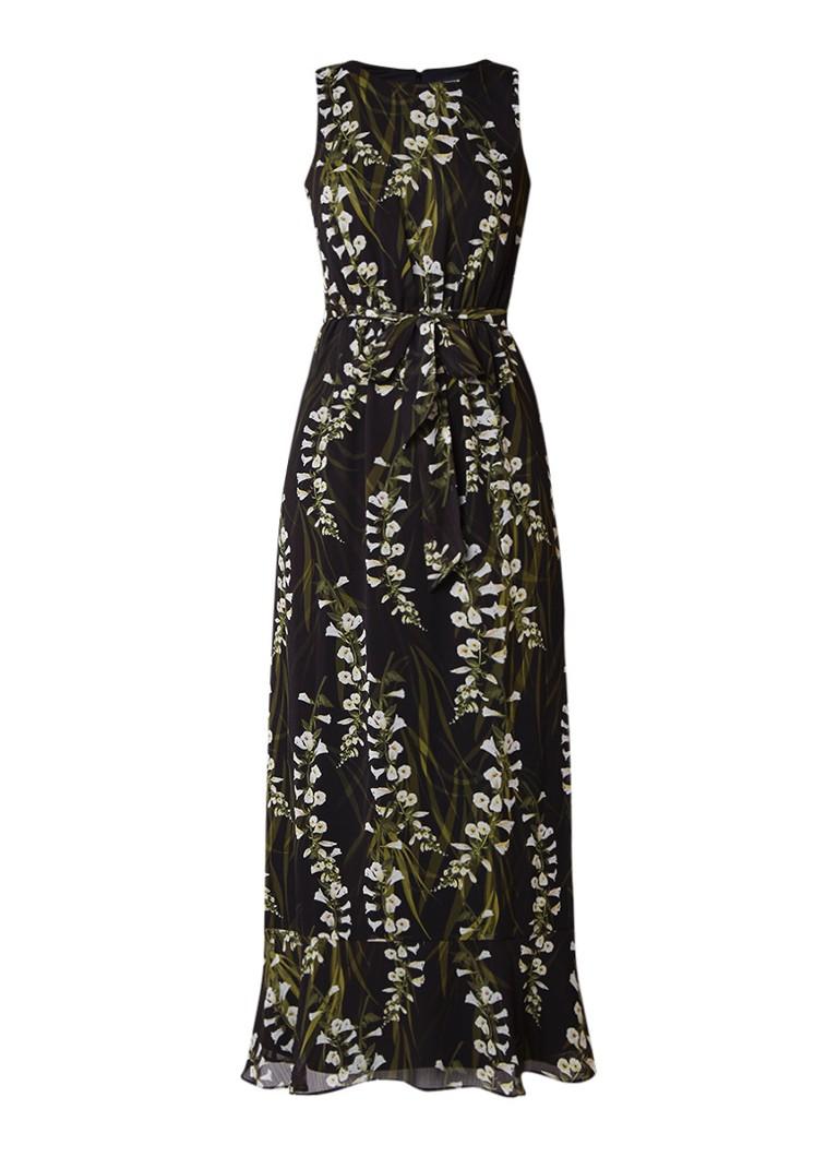 Phase Eight Valencia maxi-jurk met bloemendessin en strikceintuur zwart