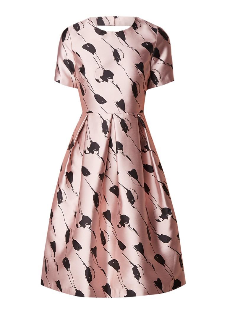 Phase Eight Carlett A-lijn jurk van satijn met bloemendessin lichtroze