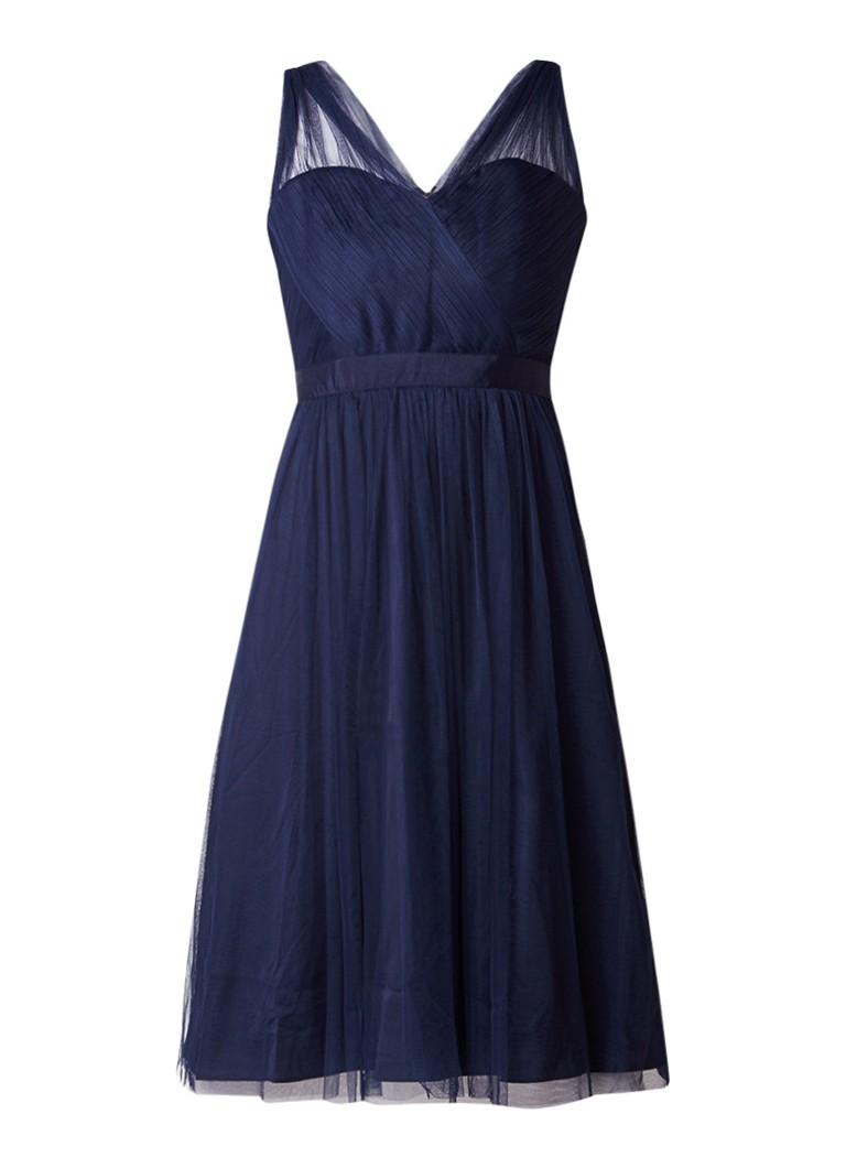 Phase Eight Romy A-lijn jurk met overlay van tule donkerblauw