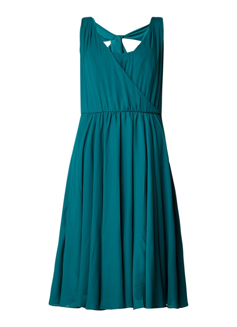 Phase Eight Rosa A-lijn jurk met overslag en strikdetail op de rug donkergroen