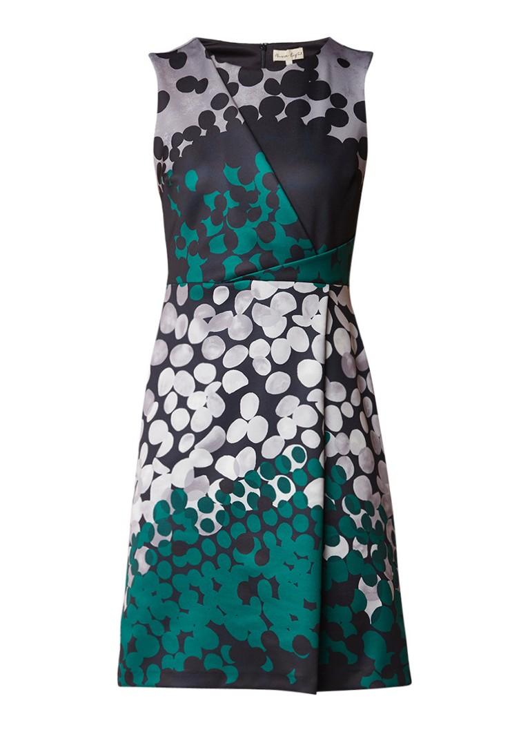Phase Eight Annie A-lijn jurk in stippendessin met plooidetail groen