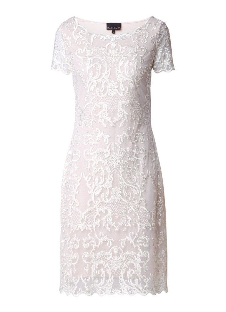 Phase Eight Tatiana midi-jurk met mesh en borduring ivoor