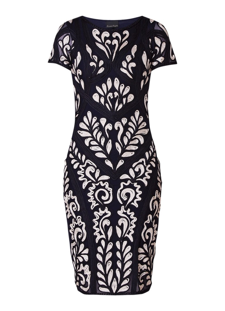 Phase Eight Sanna midi-jurk met tapework donkerblauw