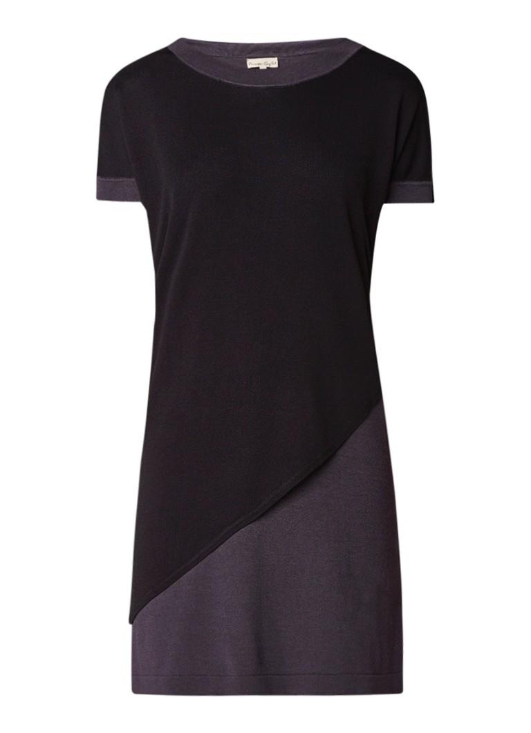 Phase Eight Elizabetta fijngebreide jurk met schuine overlay antraciet