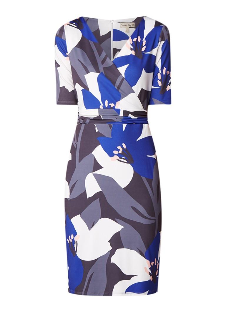 Phase Eight Lana midi-jurk met omslag en bloemendessin kobaltblauw