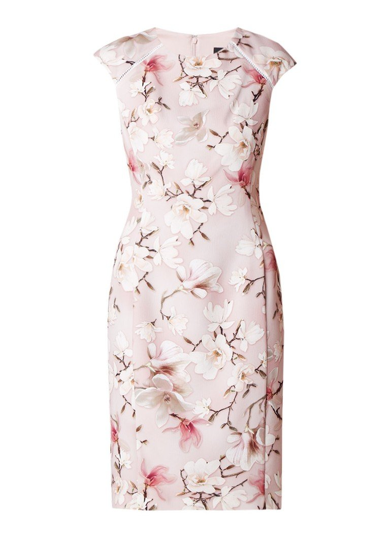 Phase Eight Odette mouwloze midi-jurk met bloemendessin roze
