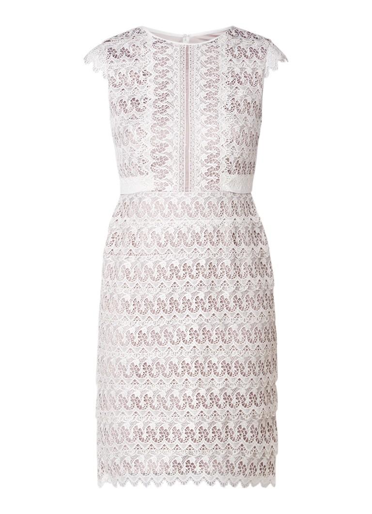 Phase Eight Ally midi-jurk van guipure kant gebroken wit