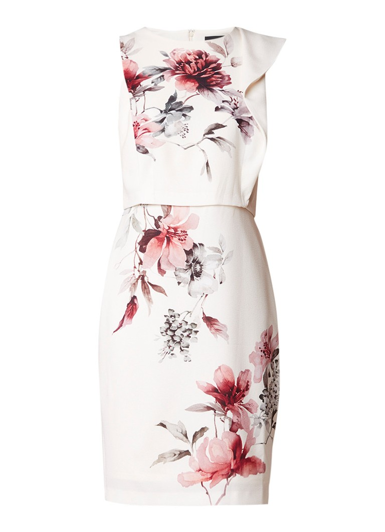 Phase Eight Sandy midi-jurk met overlay en bloemendessin creme