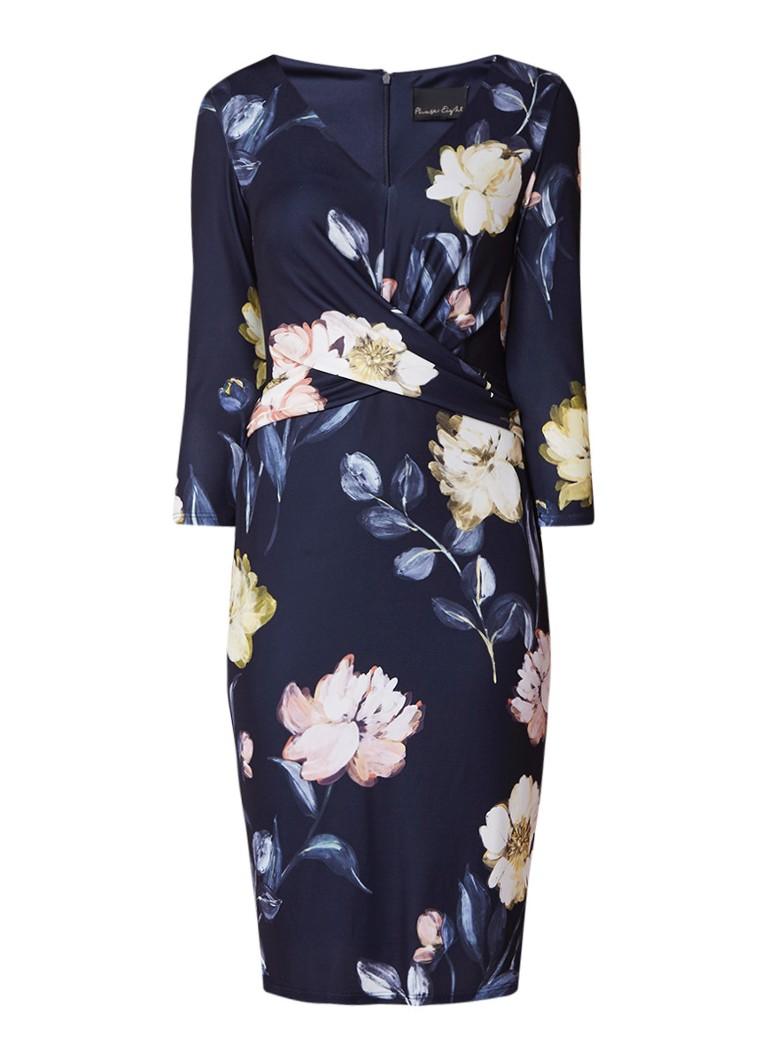 Phase Eight Marina midi-jurk met bloemendessin en tailledetail donkerblauw