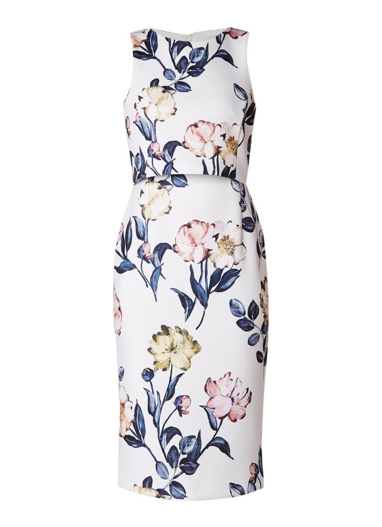 Phase Eight Peony neopreen midi-jurk met bloemendessin en overlay ivoor
