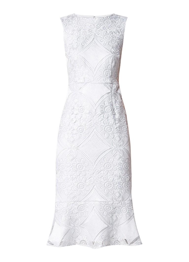 Phase Eight Jemime midi-jurk van guipure kant met volant lichtblauw