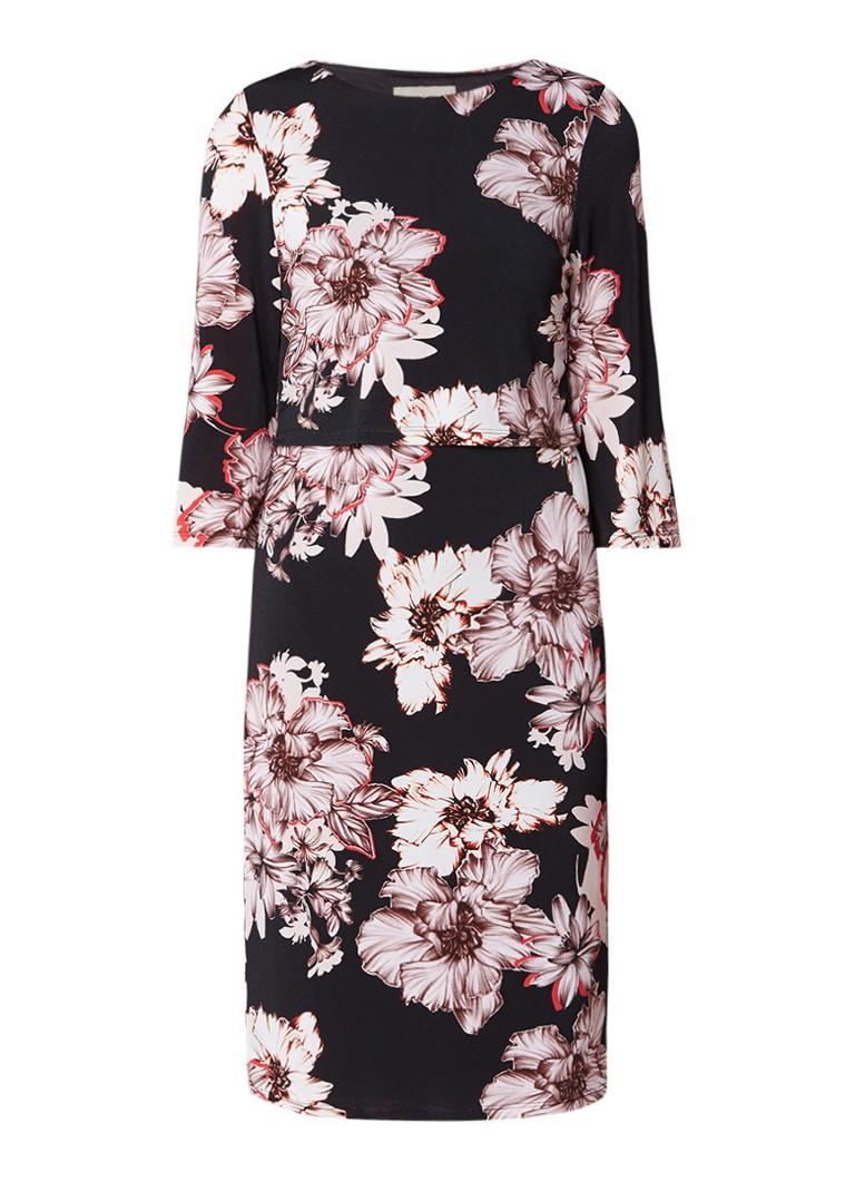 Phase Eight Thea jurk met bloemendessin en overlay zwart