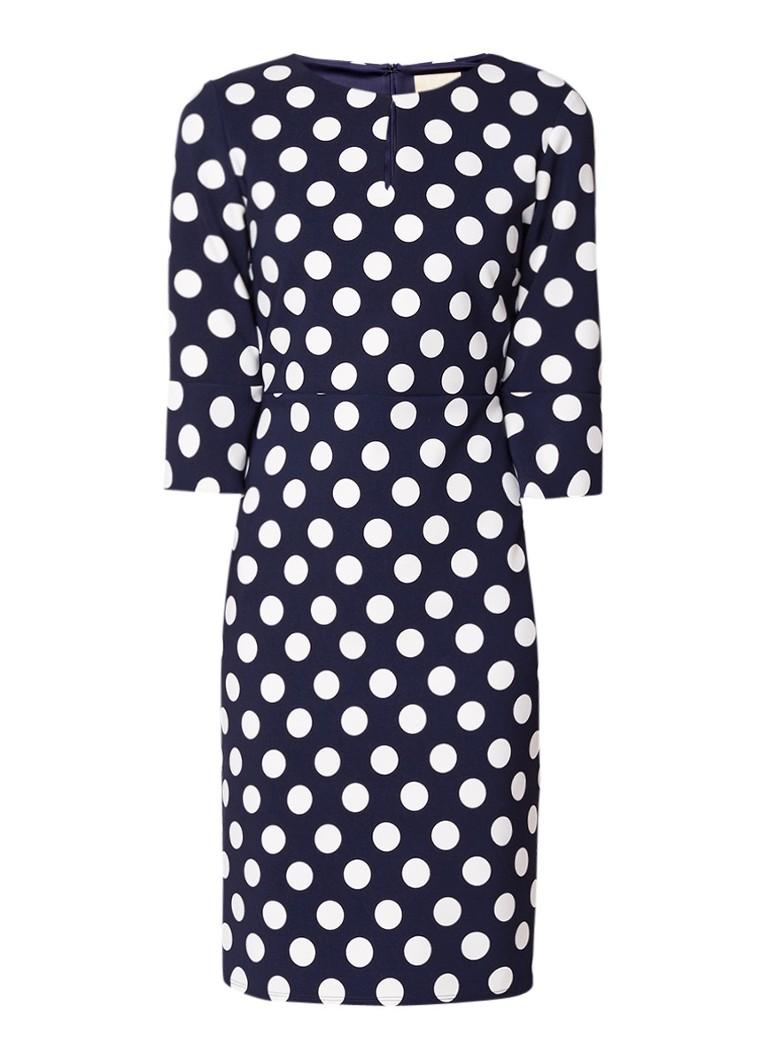 Phase Eight Katlyn jurk met trompetmouw en polkadots donkerblauw