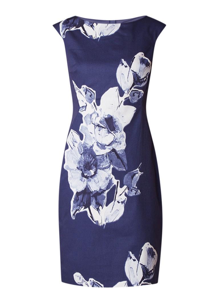 Phase Eight Kember kokerjurk met abstracte bloemendessin royalblauw