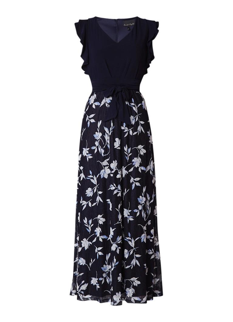 Phase Eight Loretta maxi-dress met bloemendessin en volantmouw donkerblauw
