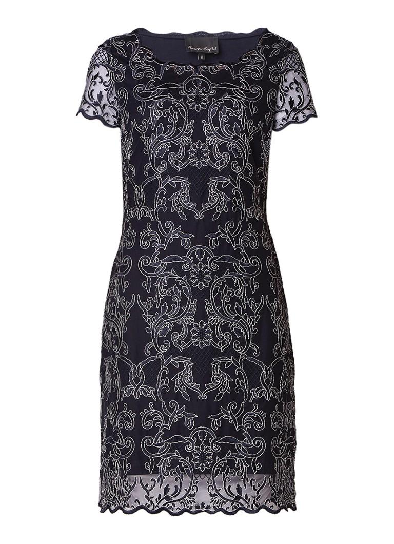 Phase Eight Tatiana midi-jurk met jacquard dessin donkerblauw