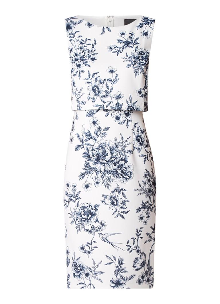 Phase Eight Romily midi-jurk van neopreen met bloemendessin ivoor