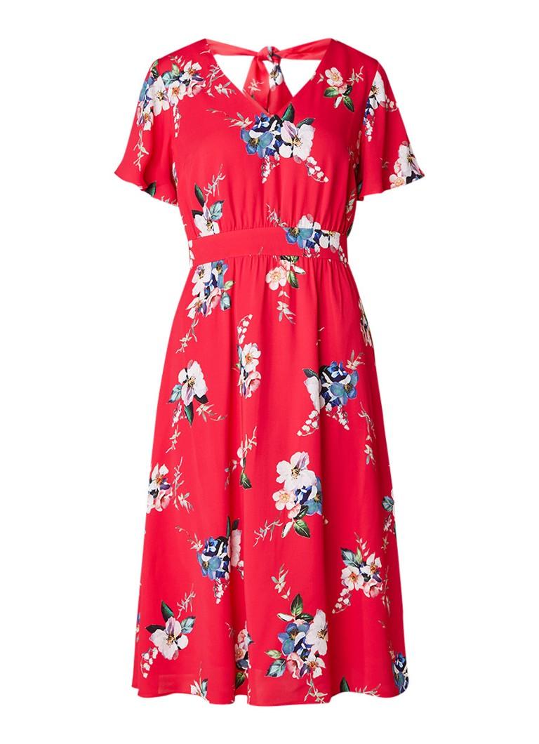 Phase Eight Alexandra A-lijn jurk met bloemenprint en strikdetail rood