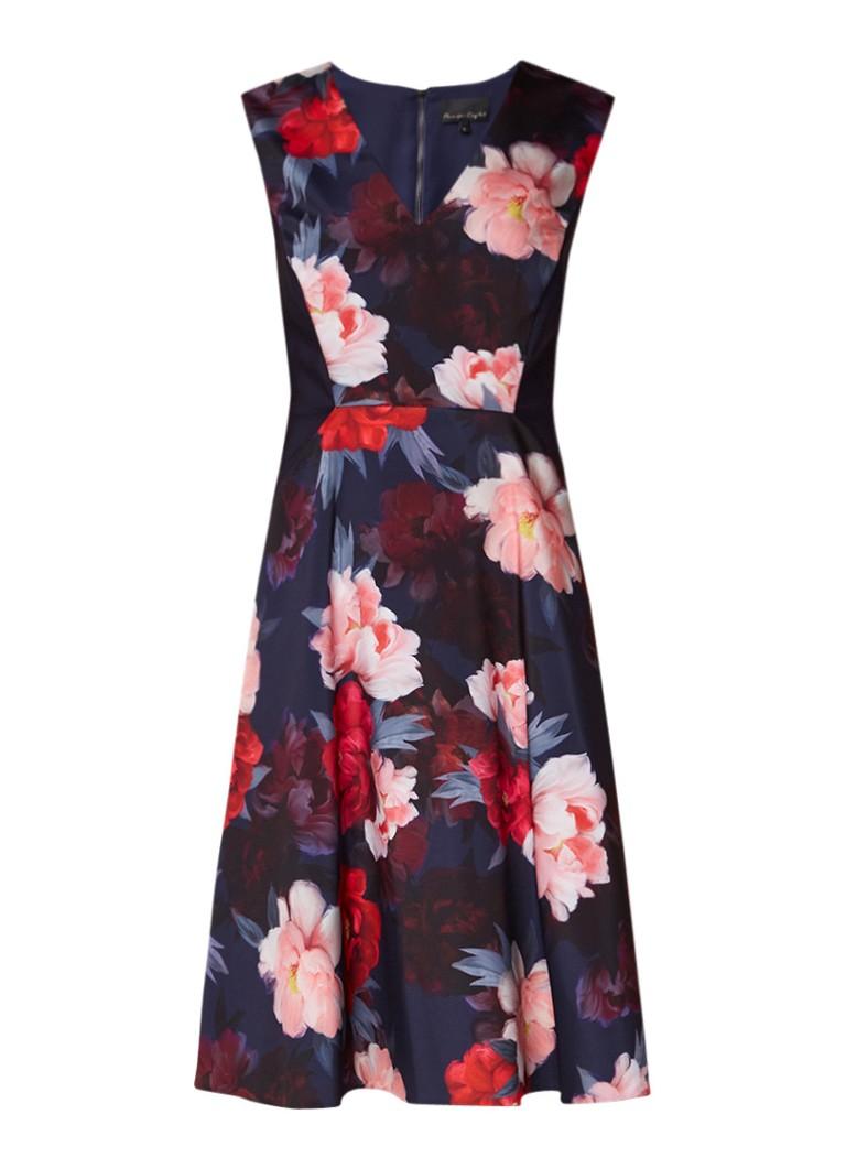 Phase Eight Elba A-lijn jurk met bloemenprint en steekzakken donkerblauw