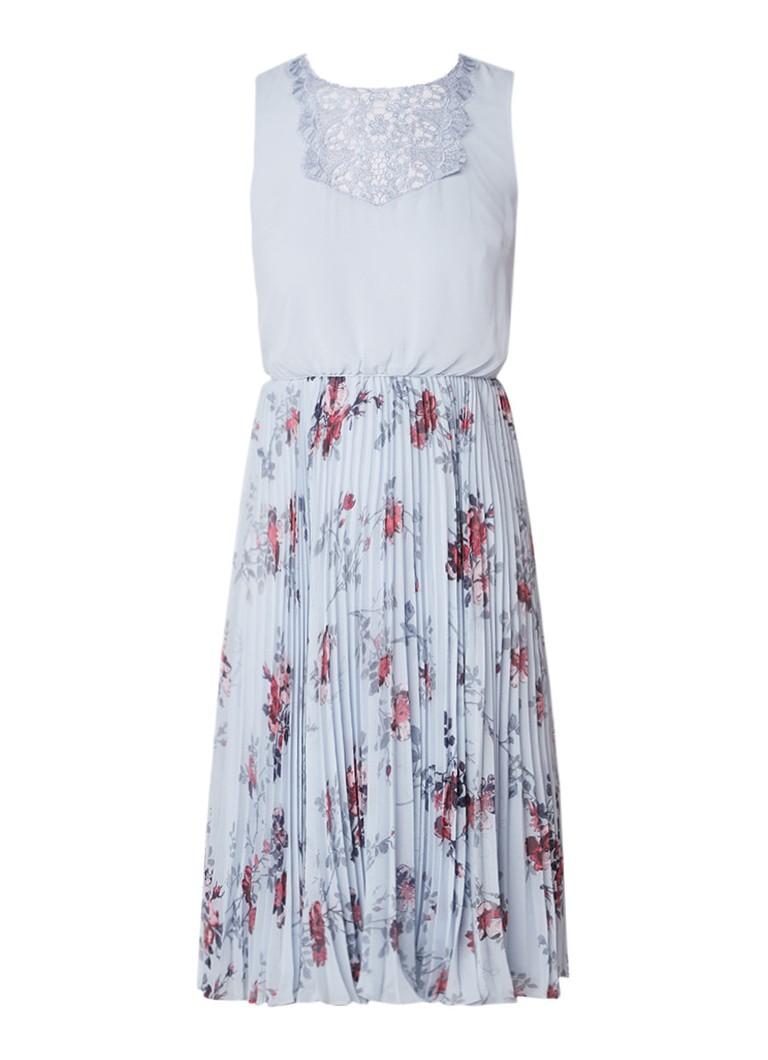 Phase Eight Patricia A-lijn jurk met plissé en bloemendessin lichtblauw