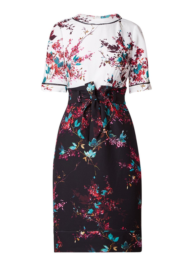 Phase Eight Ariana jurk met bloemenprint en ceintuur zwart