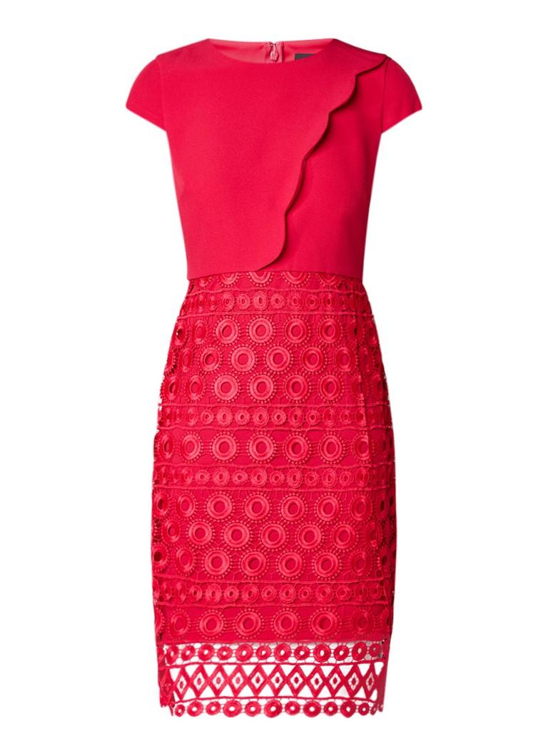Phase Eight Marlin midi-jurk met rok van broderie donkerrood