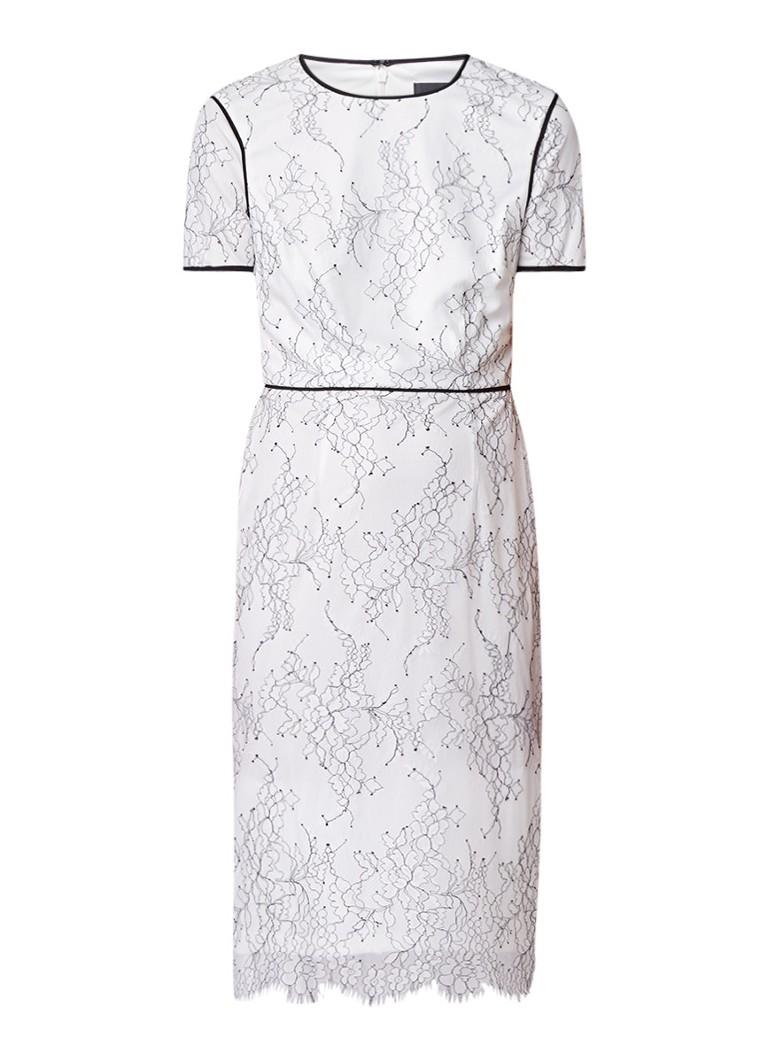 Phase Eight Adona midi-jurk van kant met bloemendessin ivoor