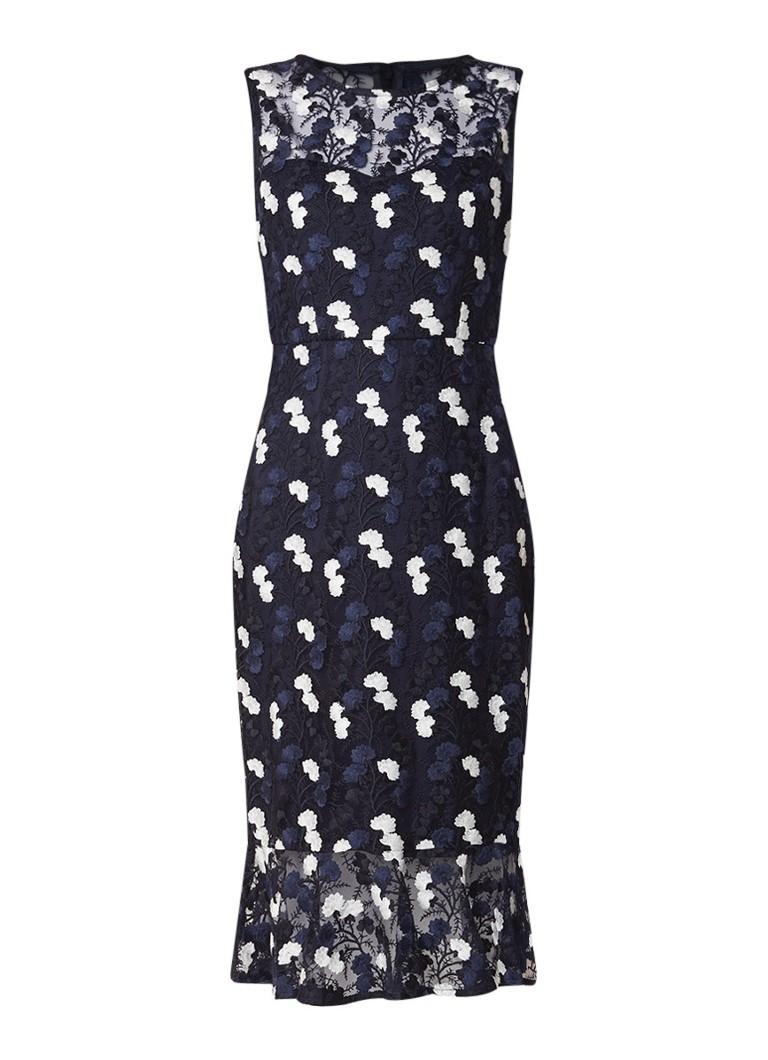 Phase Eight Aleah mouwloze midi-jurk van kant met bloemendessin donkerblauw