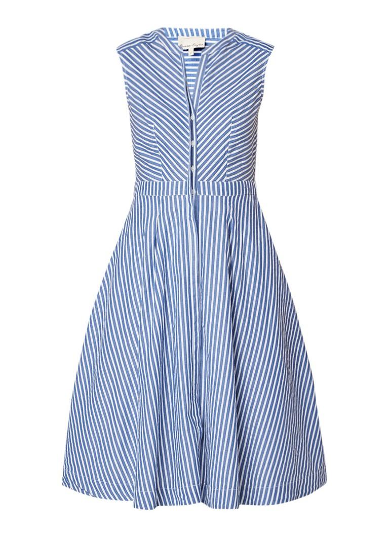 Phase Eight Ajee A-lijn blouse-jurk met streepdessin middenblauw