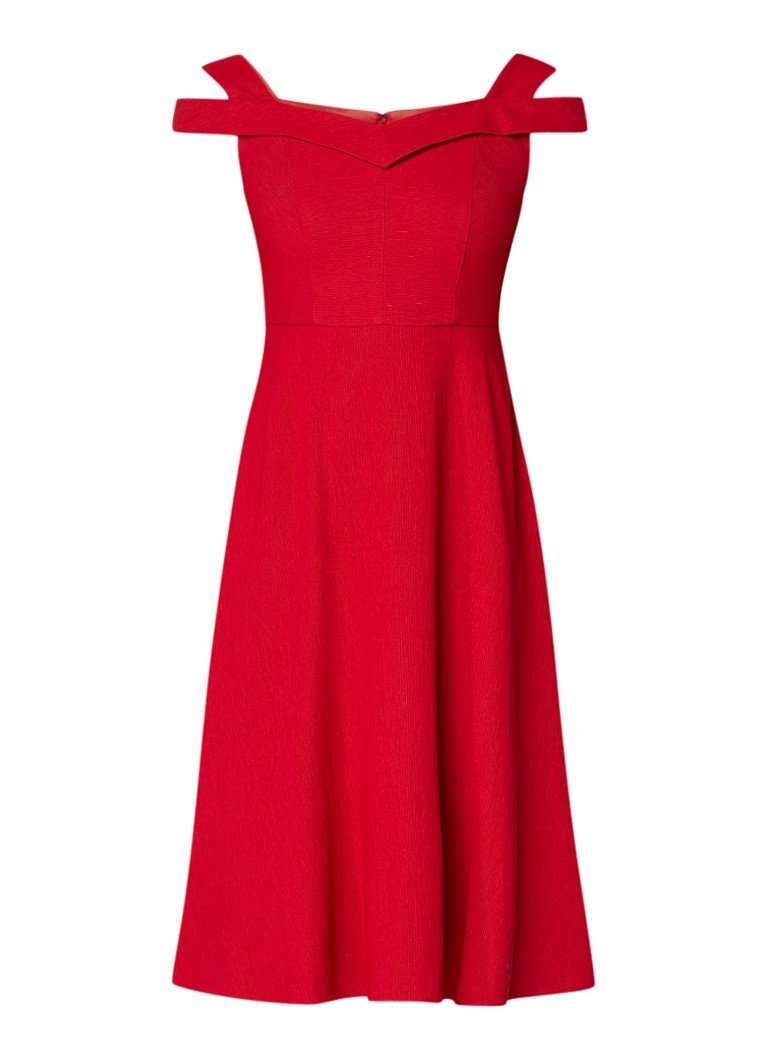 Phase Eight Gillenia A-lijn jurk met cold shoulder rood