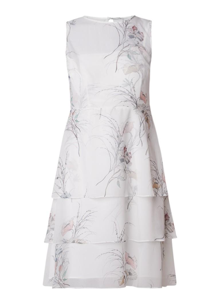Phase Eight Luca gelaagde A-lijn jurk met bloemenedessin gebroken wit