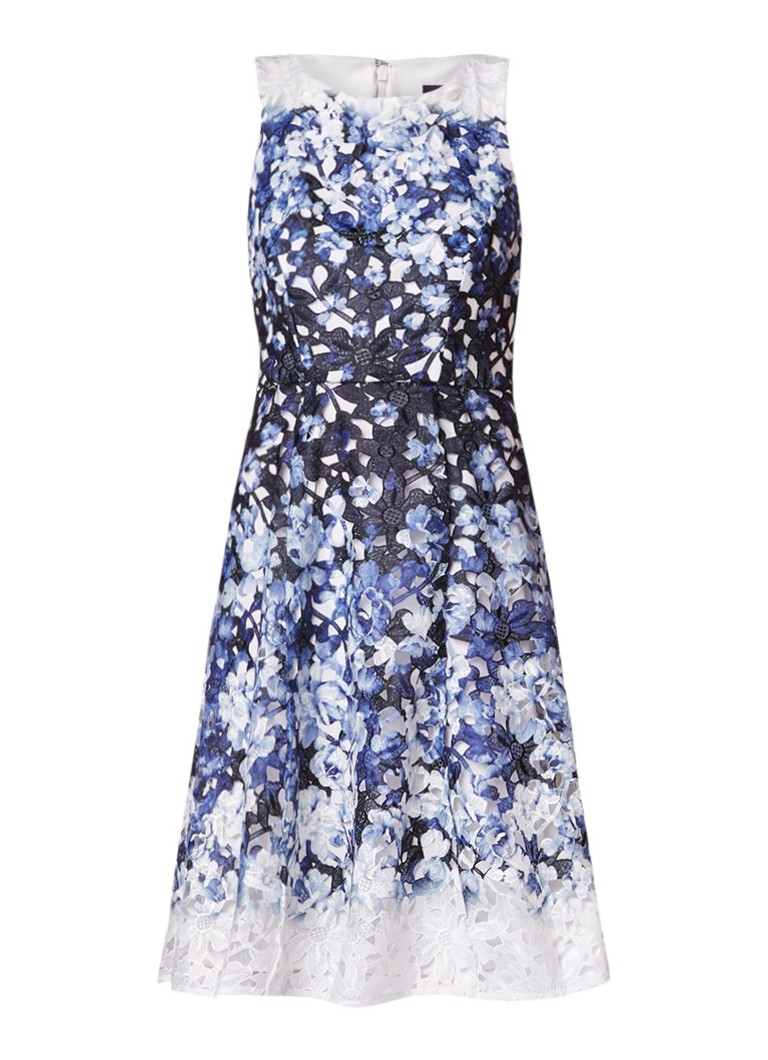 Phase Eight Angela mouwloze A-lijn jurk van gebloemd kant donkerblauw